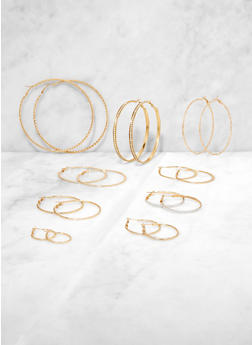 Variegated Hoop Earrings Set - 3135073841370