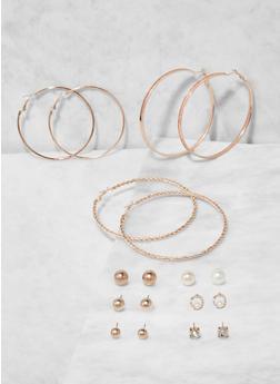 Set of 9 Assorted Hoop and Stud Earrings - 3135073841487