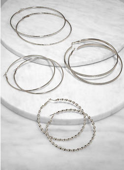 Oversized Metallic Hoop Earring Trio   3135073841499 - 3135073841499