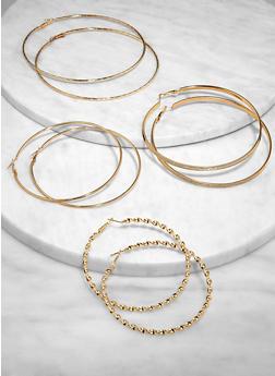 Oversized Metallic Hoop Earring Trio | 3135073841499 - 3135073841499
