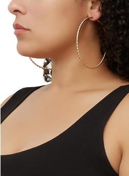 Textured Oversized Hoop Earring Trio | 3135073841500 - 3135073841500