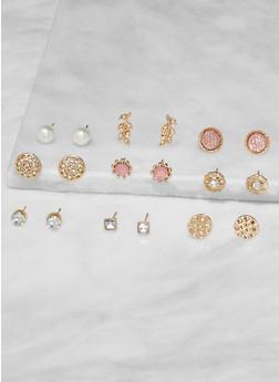 Set of 9 Assorted Stud Earrings - 3135073841727