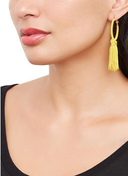Tassel Thread Wrapped Hoop Earrings - 3135073842411