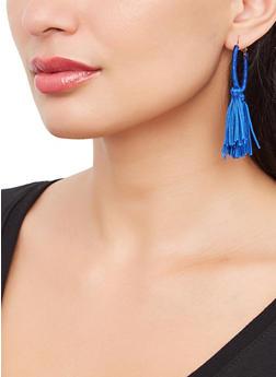 Tassel Thread Wrapped Hoop Earrings - 3135073842411