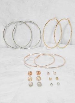 Set of 9 Assorted Hoop and Stud Earrings - 3135073842478