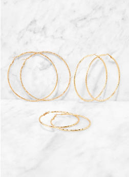 Trio of Metallic Assorted Size Hoop Earrings - 3135073845575