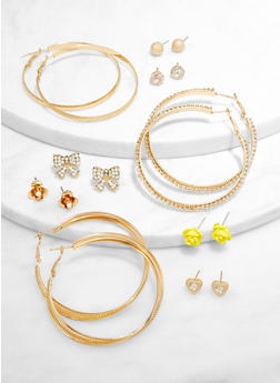 Assorted Rhinestone Stud and Hoop Earrings - 3135073845787