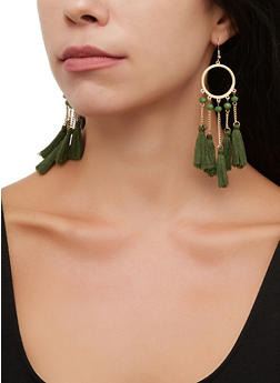 Metallic Circle Tassel Drop Earrings - 3135073846086