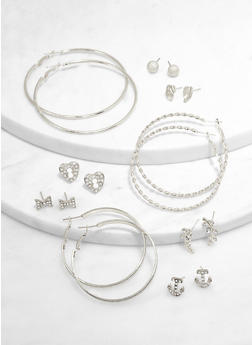 Assorted Leaf Stud and Hoop Earrings Set - 3135073847907