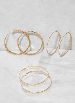 Metallic Hoop Earring Trio - 3135073848582