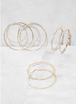 Oversized Hoop Earring Trio - 3135073848584