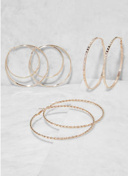 Oversized Hoop Earring Trio - 3135073848590
