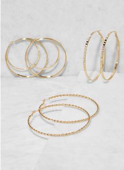 Oversized Hoop Earring Trio - 3135073848590