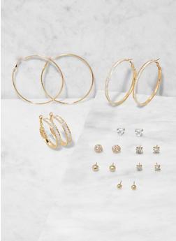 Assorted Set of Stud and Hoop Earrings - 3135073848736