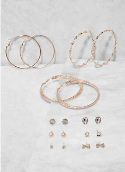 Set of Assorted Bow Stud and Hoop Earrings - 3135073848738