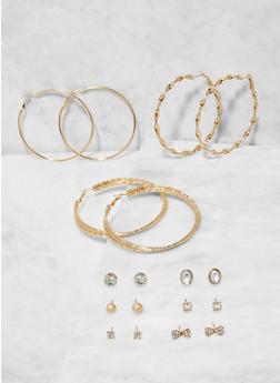 Set of Assorted Stud and Hoop Earrings - 3135073848738