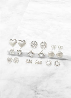 9 Assorted Love Stud Earrings - 3135073848789