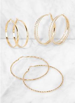 Metallic Glitter Hoop Earring Trio - 3135073848997