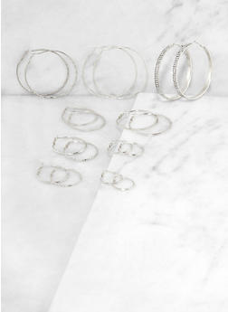 9 Variegated Hoop Earrings - 3135073849138