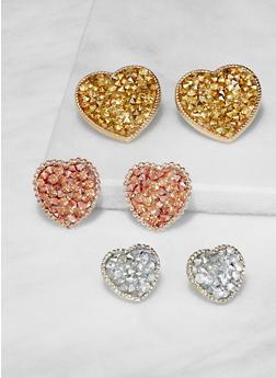 Trio of Druzy Stud Earrings - 3135073849280