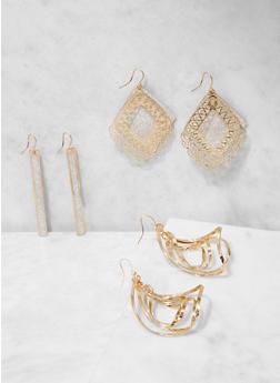 Set of 3 Glitter Metallic Drop Earrings - 3135073849780