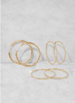 Assorted Metallic Hoop Earring Trio - 3135073849797