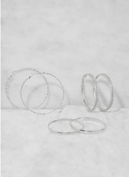 Oversized Hoop Earring Trio - 3135073849798