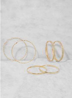 Oversized Hoop Earring Trio - 3135073849798