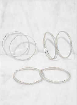Metallic Hoop Earring Trio - 3135073849800