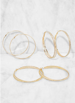 Metallic Hoop Earring Trio - 3135073849800
