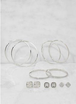 Set of 6 Assorted Hoop and Stud Earrings - 3135073849801