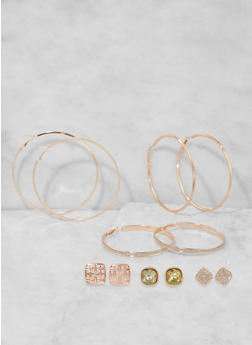 Set of 6 Assorted Hoop and Stud Earrings - 3135073849801