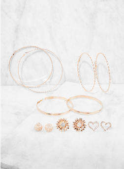 Set of 6 Stud and Hoop Earrings - 3135073849802