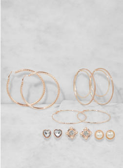 Assorted Stud and Hoop Earrings Set - 3135073849803