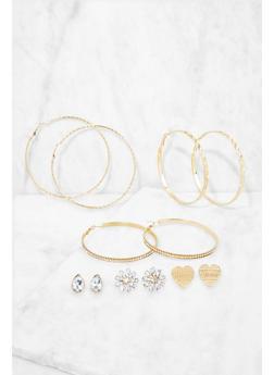 Set of 6 Assorted Hoop and Stud Earrings - 3135073849804
