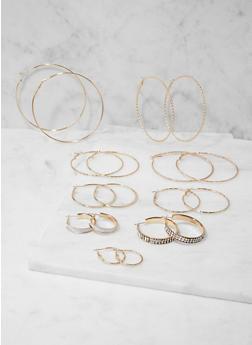 Set of 9 Assorted Hoop Earrings - 3135073849831