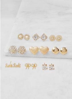Set of 9 Rhinestone Stud Earrings - 3135073849878