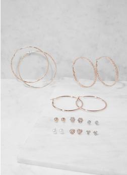Set of Assorted Stud and Hoop Earrings - 3135073849879