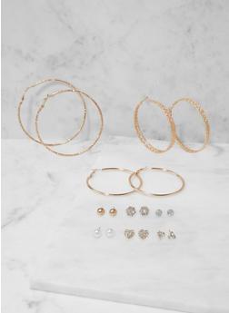 Set of Assorted Stud and Textured Metallic Hoop Earrings - 3135073849879