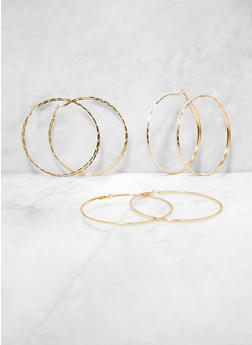 Oversized Glitter and Metallic Hoop Earring Trio - 3135073849979