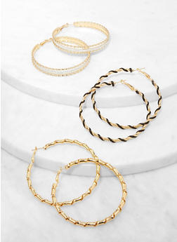 Textured Thread Wrapped Hoop Earring Trio - 3135073849981