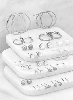 Multi Metallic Rhinestone Stud and Hoop Earrings - 3135074140580
