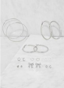 Assorted Hoop and Stud Earrings Set - 3135074141060