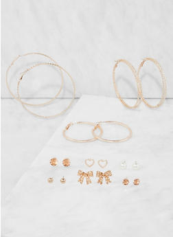 Assorted Hoop and Stud Earrings Set - 3135074141060
