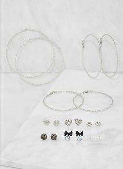 Set of Assorted Stud and Hoop Earrings - 3135074141062