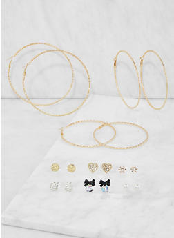 Set of Assorted Stud and Hoop Earrings - 3135074141062