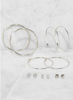 Metallic Hoop and Stud Earrings Set - 3135074141116
