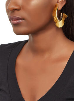Metallic Fringe Hoop Earrings - 3135074141123