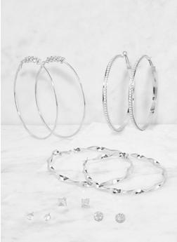 Set of Assorted Stud and Hoop Earrings - 3135074141227