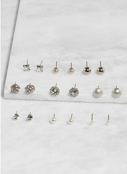 Set of 9 Assorted Stud Earrings - 3135074141256